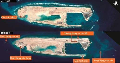 Ảnh vệ tinh hôm 23/3 cho thấy Trung Quốc xây dựng đường băng ở Đá Chữ Thập, quần đảo Trường Sa. Ảnh: Airbus.