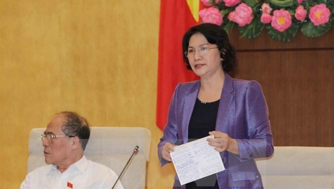 Phó Chủ tịch Quốc hội Nguyễn Thị Kim Ngân điều hành phiên họp. (Ảnh: Phương Hoa/TTXVN)