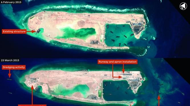 Đá Chữ Thập đang được gấp rút xây dựng thành căn cứ quân sự nhằm phục vụ mưu đồ của Trung Quốc ở biển Đông