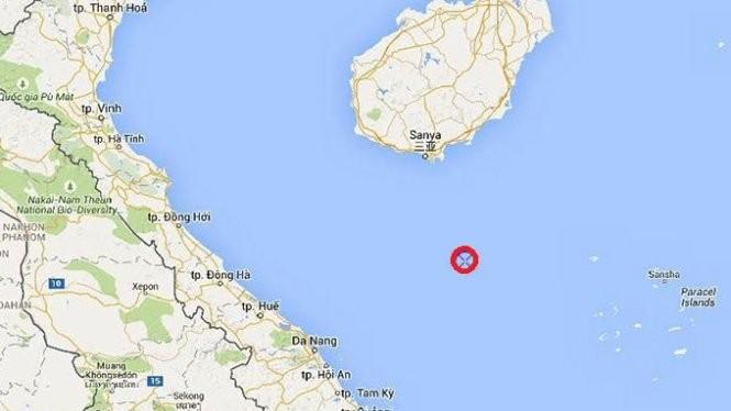 Vị trí giàn khoan Hải Dương 981 (màu đỏ) hoạt động thăm dò dầu khí từ ngày 25-6 đến ngày 20-8-2015.