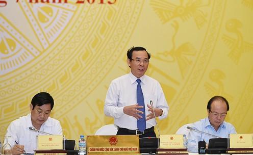 Bộ trưởng Nguyễn Văn Nên tại buổi họp báo chiều 31/7 Ảnh: Chinhphu.vn