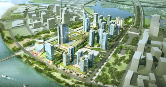 """Phối cảnh khu phức hợp """"thành phố thông minh"""" - Thủ Thiêm Eco Smart City trong Khu đô thị mới Thủ Thiêm."""