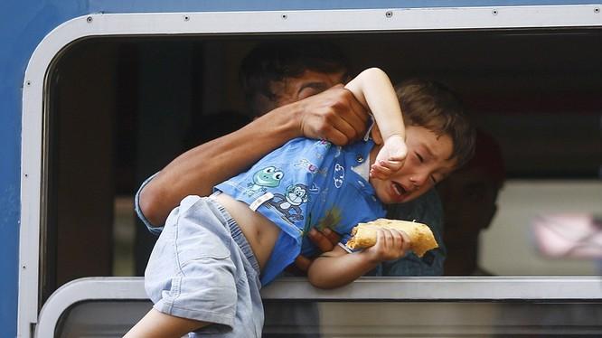 Một chú bé đang được cố kéo qua cửa sổ để lên con tàu chật ních những người chạy nạn đói khát và tuyệt vọng