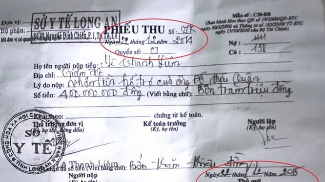 Phiếu thu 400 triệu đồng do Sở Y tế tỉnh Long An lập - Ảnh: Hoàng Lê