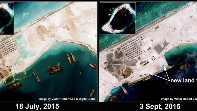Đá Subi ngày 18-7-2015 và 3-9-2015 - Ảnh: thediplomat.com
