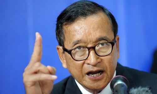 Chủ tịch đảng CNRP Sam Rainsy. Ảnh: Huffington Post