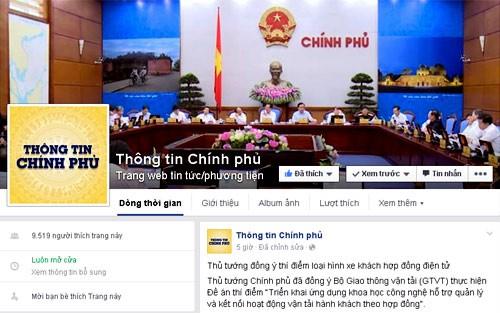 Giao diện tài khoản của Cổng thông tin điện tử Chính phủ trên Facebook.