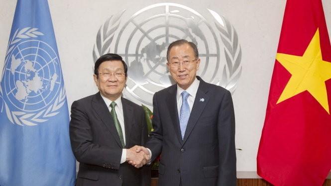 Chủ tịch nước Trương Tấn Sang hội kiến với Tổng Thư ký Liên hợp quốc Ban Ki Moon nhân chuyến dự Hội nghị thượng đỉnh Liên Hợp Quốc.- Ảnh: U.N