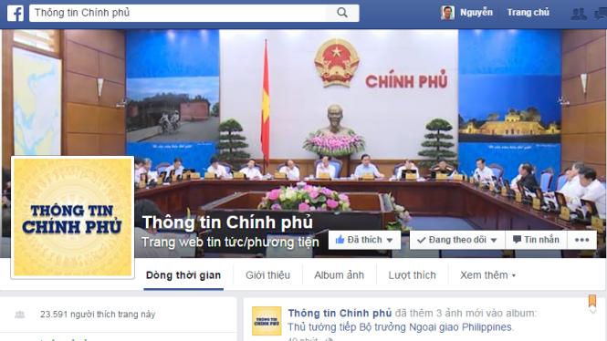 """Tính đến chiều tối 21-10 đã có hơn 23.000 người """"thích"""" trang """"Thông tin Chính phủ"""" trên Facebook"""