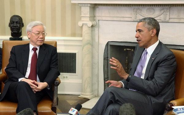 Trong buổi tiếp Tổng bí thư Nguyễn Phú Trọng, Tổng thống Mỹ Barack Obama đã cam kết sẽ đến thăm Việt Nam trước khi kết thúc nhiệm kỳ - Ảnh: Reuters