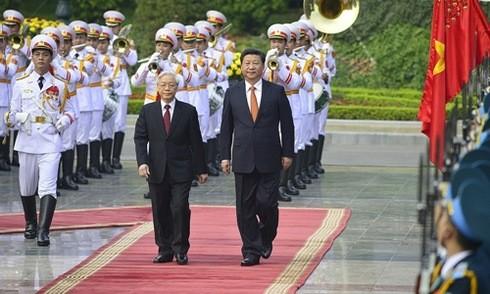 Tổng Bí thư Nguyễn Phú Trọng tại lễ đón ông Tập Cận Bình