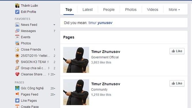 Chỉ trong một thời gian ngắn đã có rất nhiều fanpage với tên gọi Timur Zhunusov được tạo ra - Ảnh chụp màn hình