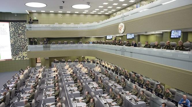 Một góc Trung tâm chỉ huy quân đội Nga, nơi ông Putin điều hành chiến dich quân sự tại Syria