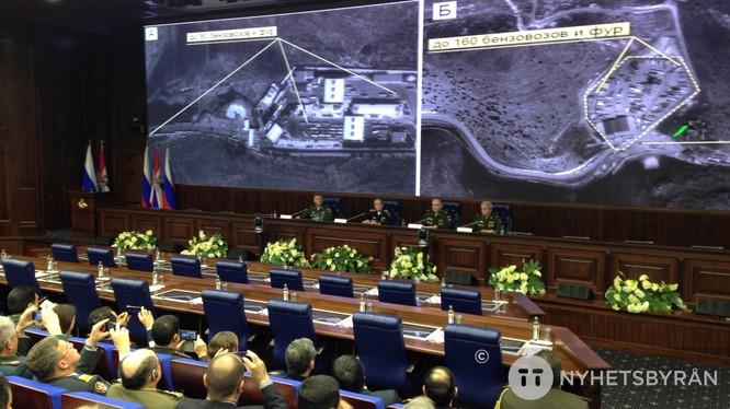 Bộ chỉ huy Nga trưng các hình ảnh chứng cứ về việc Thổ Nhĩ Kỳ buôn dầu lậu, tiếp tay cho IS