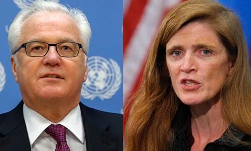 Đại sứ Nga tại Liên Hợp Quốc Vitaly Churkin (trái) và đại sứ Mỹ tại Liên Hợp Quốc Samantha Power. Ảnh: Reuters.