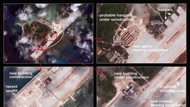 Hình ảnh chụp từ vệ tinh hồi tháng 3-2015 cho thấy Trung Quốc tăng cường xây dựng trái phép ở đảo Phú Lâm - Ảnh: The Diplomat