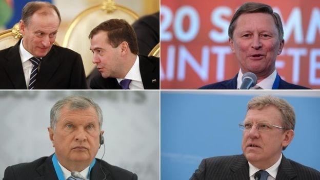 Bộ 5 thân tín của ông Putin: Nikolai Patrushev và Dmitry Medvedev; Sergei Ivanov; Alexei Kudrin và Igor Sechin (từ trái sang). Nguồn: Getty