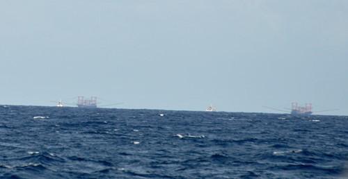Hai tàu Kiểm ngư Việt Nam (màu trắng) đang kiên trì xua đuổi 2 tàu cá Trung Quốc có trọng tải lớn gấp 3-4 lần, trên vùng biển Ba Kè, chiều 20.1