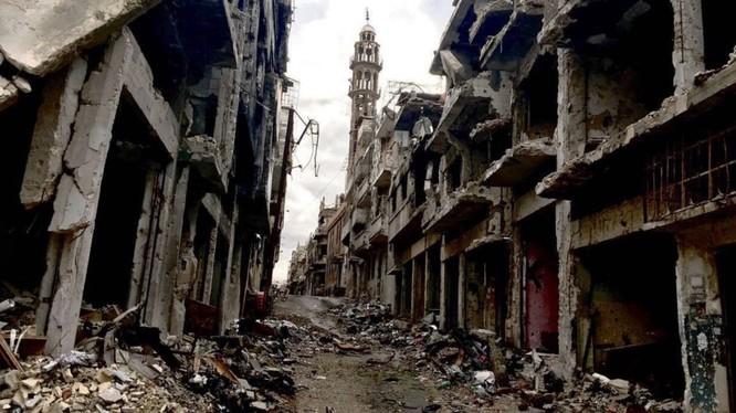 Cảnh hoang tàn, đổ nát chiến tranh ở Syria