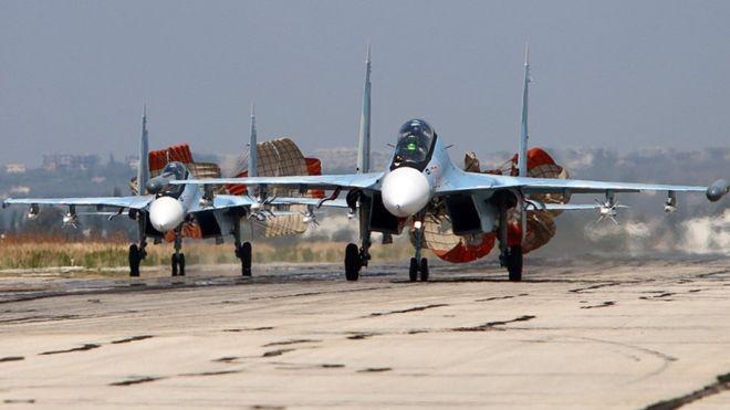 Biên đội Su-30SM làm nhiệm vụ trở về căn cứ tại Syria