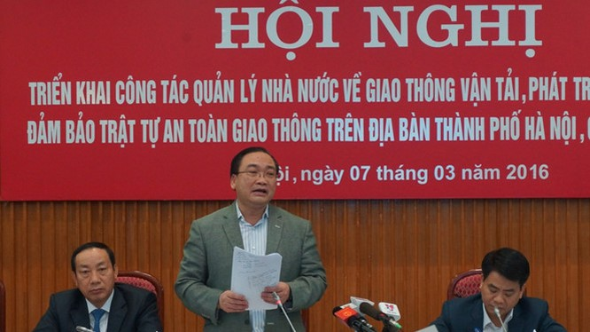 Bí thư Thành ủy Hà Nội phát biểu - Ảnh: M.Hà