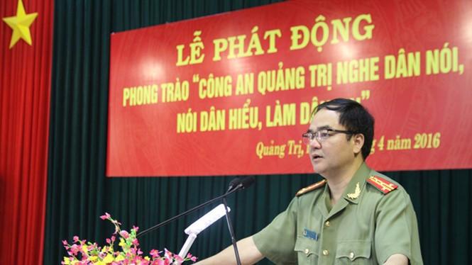 Đại tá Vũ Chiến Thắng phát biểu tại lễ phát động với những chia sẻ thẳng thắn - Ảnh: Nguyễn Phúc
