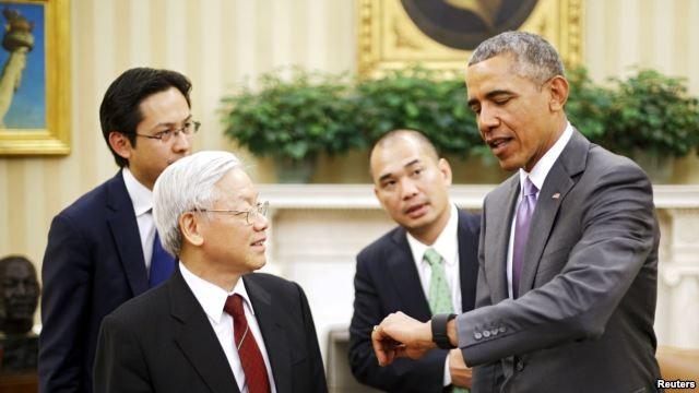 Tổng Bí thư Nguyễn Phú Trọng và Tổng thống Obama tại Nhà Trắng trong chuyến thăm Mỹ lịch sử tháng 7/2015
