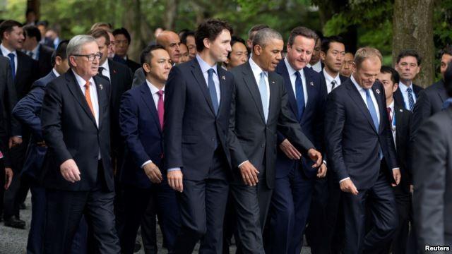 Lãnh đạo G7 cùng với các nhà lãnh đạo của Liên hiệp Châu Âu tại Nhật Bản ngày 26/5