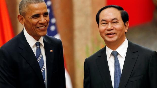 Chủ tịch nước Trần Đại Quang tiếp đón Tổng thống Mỹ Barack Obama trong chuyến thăm lịch sử tới Việt Nam