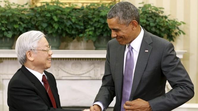 Tổng Bí thư Nguyễn Phú Trọng và Tổng thống Mỹ Barack Obama tại Nhà Trắng trong chyến thăm Mỹ lịch sử năm 2015
