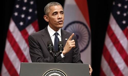 Tổng thống Obama phát biểu tại New Delhi, Ấn Độ, hôm 27/1. Ảnh: Reuters