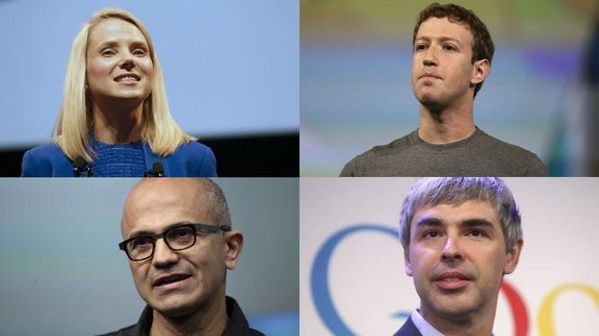 Từ trái qua, từ trên xuống: CEO Yahoo, CEO Facebook, CEO Microsoft và CEO Google