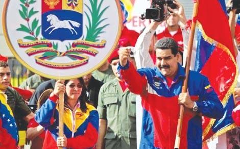 Tổng thống Venezuela Nicolas Maduro tại Quảng trường Miraflores hôm 28/2. Ảnh: AP.