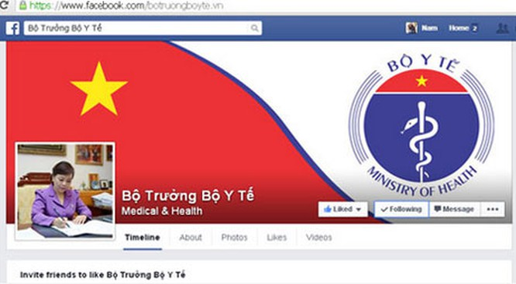 Trang Fanpage của Bộ trưởng Bộ Y tế Nguyễn Thị Kim Tiến.