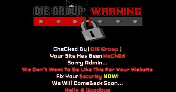 Đến sáng 12/3, giao diện website phanchutrinh.edu.vn vẫn còn treo hình ảnh bị hack của nhóm Die Group. - Ảnh: SecurityDaily.