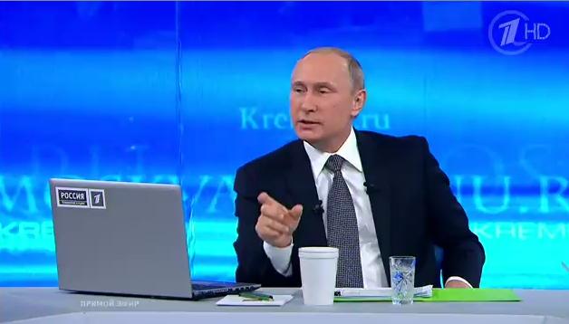 Ông Putin tại buổi trả lời thường niên chiều 16-4 - Nguồn: 1tv.ru