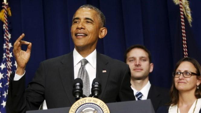 Tổng thống Obama phát biểu về vấn đề kinh tế tại Nhà Trắng ngày 16-4 - Ảnh: Reuters