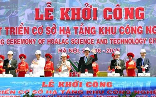 Thủ tướng Nguyễn Tấn Dũng cùng lãnh đạo các bộ, ngành, Hà Nội phát lệnh khởi công dự án ngày 26/6.