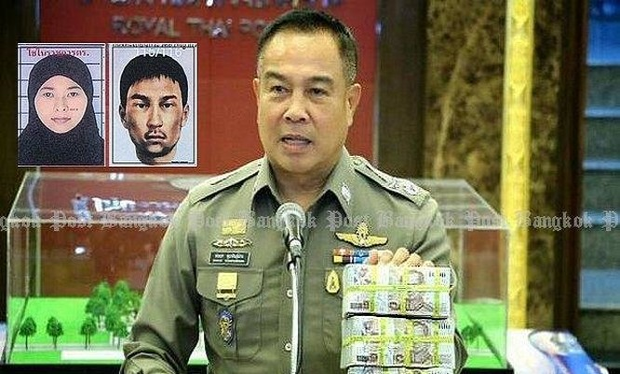 Cảnh sát trưởng Thái Lan Somyot Poompunmuang tuyên bố thưởng 3 triệu baht cho những cảnh sát tham gia điều tra vụ đánh bom ở Bangkok - Ảnh: Bangkok Post