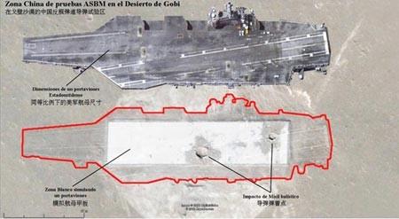 Theo hình ảnh vệ tinh, tên lửa đạn đạo Trung Quốc đã đánh chìm tàu sân bay