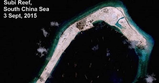 Đá Subi, ảnh vệ tinh chụp ngày 03/09/2015 (Nguồn: Victor Robert Lee and Digital Globe)