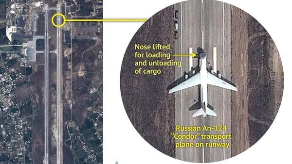 Hình ảnh vệ tinh chụp máy bay vận chuyển hàng có Nga hạ cánh xuống căn cứ không quân Latakia.