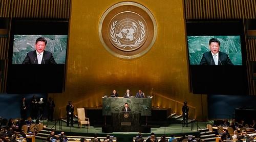 Chủ tịch Trung Quốc hôm qua phát biểu tại Đại Hội đồng Liên Hợp Quốc. Ảnh: Reuters