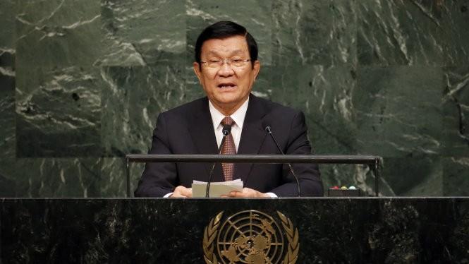 Chủ tịch nước Trương Tấn Sang phát biểu tại LHQ - Ảnh: Reuters