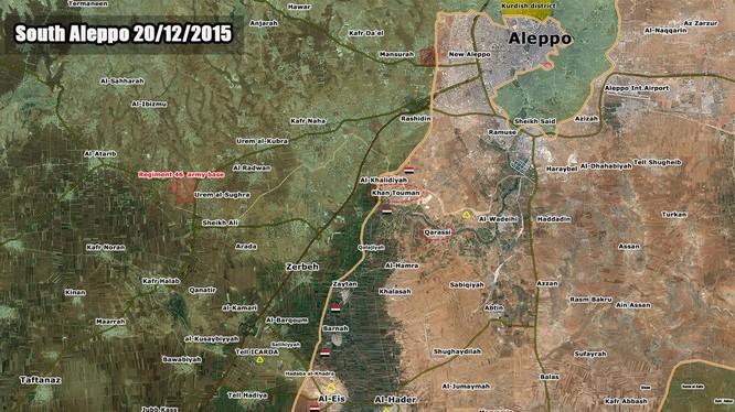 Bản đồ tình hình Aleppo cuối ngày 20.12.2015