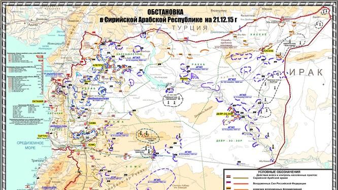 Bản đồ chiến sự Syria tính đến ngày 21.12.2015