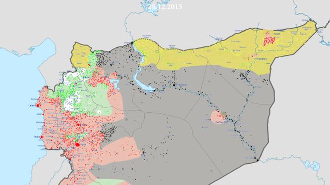 Tình hình phân bổ lực lượng Syria ngày 29.12.2015