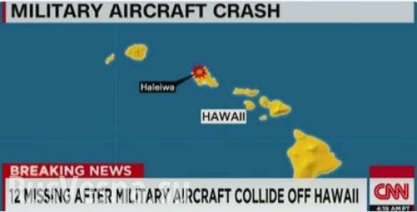 Hai máy bay Mỹ va chạm, 12 người thiệt mạng