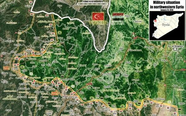 Bản đồ phân bổ lực lượng trên vùng biên giới với Thổ Nhĩ Kỳ