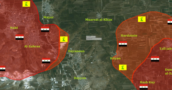 Bản đồ chiến sự Bắc Aleppo cuối ngày 02.02.2016